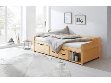 Home affaire Stauraum-Bett »Nils«, mit 5 Schubladen und einem Fach, Liegefläche: 90/200 cm, natur, 90/200 cm, natur lackiert