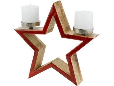 Kerzenhalter »Stern«, Ø 32 cm, rot, 8x32 cm, rot-braun