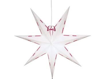 STAR Star Papierstern zum Hängen, mit Kabel »Metasol«, weiß, Breite x Tiefe x Höhe in cm : 60 x 16 x 60, Weiß-Rot