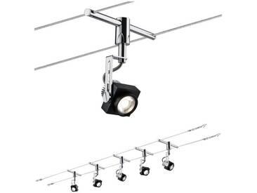 Paulmann LED Deckenleuchte »Wohnzimmerlampe LED 5x5W Phase 230/12V, Schwarz/Chrom«, Seilsystem, 5-flammig, schwarz, 5 -flg. /, schwarz-chromfarben
