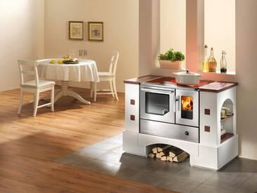 Haas + Sohn HAAS+SOHN Festbrennstoffherd »Planai«, Kachel, 8 kW, Dauerbrand, Backofen und Kochfeld, weiß, weiß
