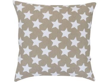 ELBERSDRUCKE Kissen, Elbersdrucke, »STARS ALLOVER« (1 Stück), braun, Baumwolle, braun-weiß