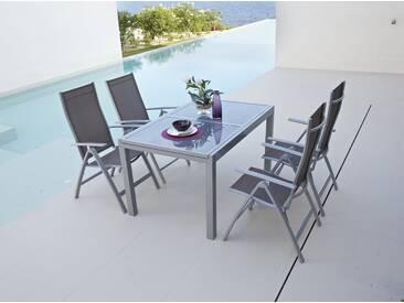 MERXX Gartenmöbelset »Amalfi«, 5-tlg., 4 Klappsessel, Tisch 90x120-180 cm, Alu/Textil, braun, taupe