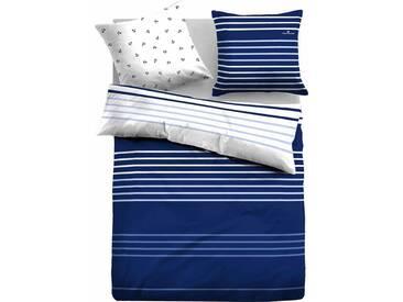 Tom Tailor Wendebettwäsche »Hagen«, mit Streifen und Ankern, blau, 1x 155x220 cm, Satin, blau