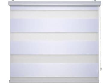 Liedeco Doppelrollo »DUO-Rollo mit 20 cm Streifen«, Lichtschutz, mit Bohren, im Fixmaß, weiß, Seitlicher Kettenzug, weiß
