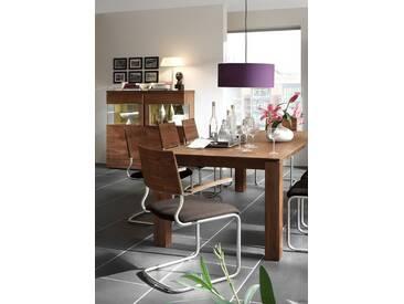 VENJAKOB Highboard »v-plus«, 2-türig, mit beidseitiger Seitenverglasung, Breite 132 cm, braun, ohne Spiegelrückwand, Nussbaum