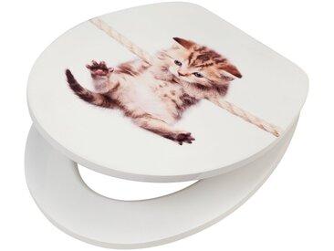 WC-Sitz »Katze«, MDF Toilettensitz mit Absenkautomatik, weiß