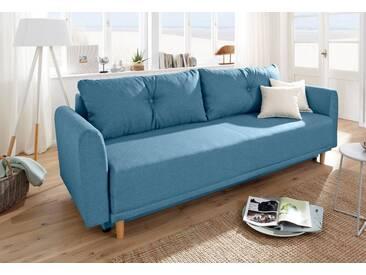 Home affaire Schlafsofa »Scandic«, inkl. 2 Zierkissen und Bettkasten, Knopfheftung in Rückenkissen, blau, 225 cm, blau