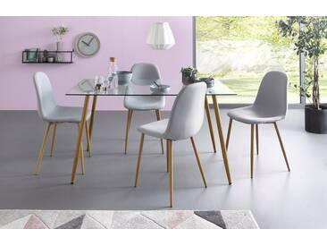 Essgruppe, Eckiger Glastisch mit 4 Stühlen (Webstoff), grau, Tisch 140 cm, Webstoff hellgrau