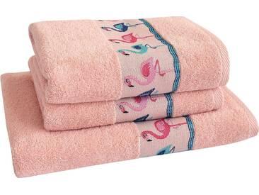 Dyckhoff Handtuch Set »Flamingos«, mit Flamingo Bordüre, rosa, 3tlg.-Set, rosé
