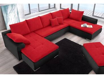COLLECTION AB Wohnlandschaft, schwarz, 375 cm, schwarz/rot