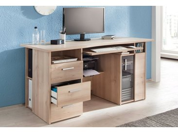 Maja Möbel Computertisch »Heide«, mit Tastaturauszug und Druckerfach, natur, edelbuchefarben