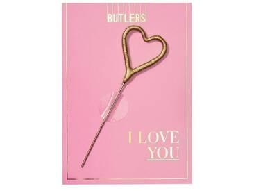 BUTLERS MAGIC MOMENTS »Mini-Grußkarte I love You mit Wunderkerze«, Länge 8,3 x Breite 0,3 x