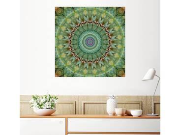 Posterlounge Wandbild - Christine Bässler »Mandala grüner Malachit«, bunt, Alu-Dibond, 120 x 120 cm, bunt