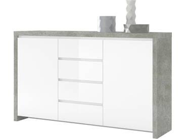 HMW Kommode »Lario«, Breite 164 cm, grau, betonfarben/weiß Hochglanz