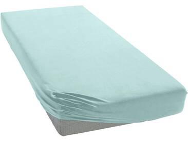 Janine Spannbettlaken »Elastic-Jersey«, auch für Wasserbetten, blau, Jersey-Elasthan, morgennebel