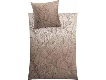 Kleine Wolke Bettwäsche »Vero«, mit Palmenblattmuster, braun, 1x 155x220 cm, Mako-Satin, taupe