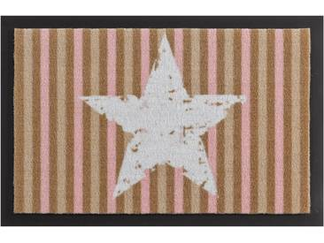 HANSE Home Fußmatte »Stars and Stripes«, rechteckig, Höhe 7 mm, rutschhemmend beschichtet, natur, 7 mm, beige-rosa