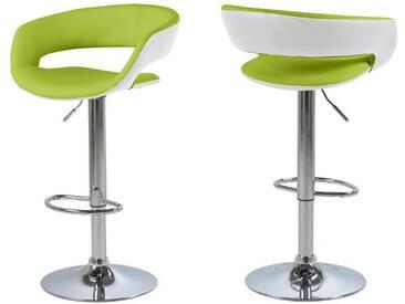 Synoun Barhocker Kunstleder mit Fußstütze 2er-Set verschiedene Farben »Kos«, hellgrün/weiß