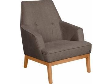 TOM TAILOR Sessel »COZY«, im Retrolook, mit Kedernaht und Knöpfung, Füße Buche natur, braun, brown TUS 4