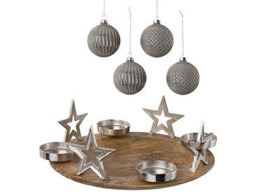 Kerzenhalter (Set, 5 Stück), Adventsleuchter Ø 38,5 cm und 4 Glaskugeln, natur, H: 13 cm, natur-grau-silberfarben-braun
