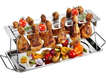 GEFU Servierplatte, Edelstahl, (Hähnchenkeulen-Halter), BBQ, silberfarben, silberfarben