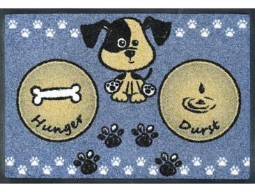 wash+dry by Kleen-Tex Fußmatte »Hundemahlzeit«, rechteckig, Höhe 7 mm, blau, 7 mm, blau