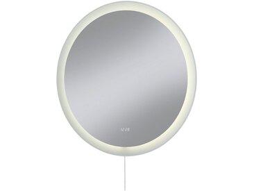 LED-Lichtspiegel »Sevilla«, mit integrierter Uhr und LED, mit Zugkette, silberfarben, silberfarben
