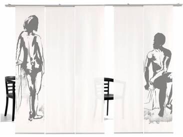 emotion textiles Schiebegardine »Mann/Frau HA«, Klettband (5 Stück), inkl. Befestigungszubehör, grau, Klettband, halbtransparent, grey