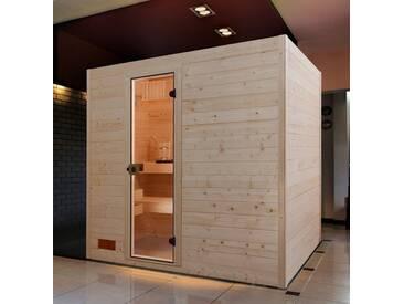 weka WEKA Sauna »Vaasa 3«, 237x187x203,5 cm, 9-kW-Ofen mit int. Steuerung, natur, 9-kW-Ofen mit integrierter Steuerung, natur