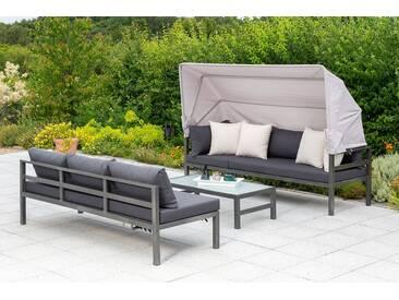 MERXX Loungeset »Amaro«, 18-tlg., Ecklounge, Tisch 55x110 cm, Textil/Alu, grau, grau/anthrazit