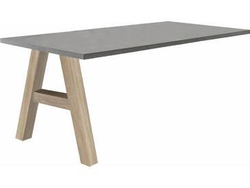 Mäusbacher Schreibtischzusatzplatte »Mio« mit Fuß, grau, eichefarben/graphit