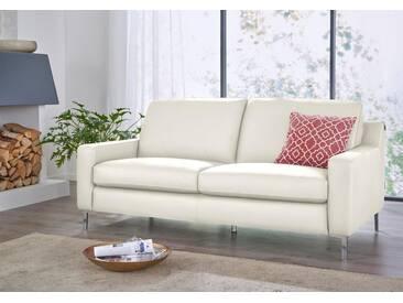 W.SCHILLIG 3-Sitzer Ledersofa »lazy«, weiß, weiß