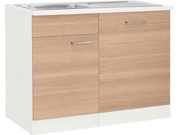 wiho Küchen Spülenschrank »Zell« Breite 110 cm, inkl. Tür/Sockel für Geschirrspüler, weiß, zen esche/weiß