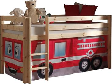 Vipack Hochbett, Furniture, bunt, Natur lackiert, Feuerwehr