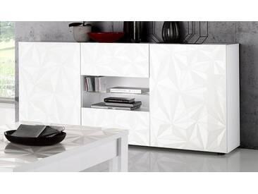 LC Sideboard »Prisma«, Breite 181 cm, 2-türig, weiß, weiß Hochglanz Lack/weiß mit Siebdruck Hochglanz Lack