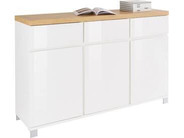 HMW Kommode »Thila«, Breite 152 cm 3-türig, weiß, weiß Hochglanz/Balkeneichefarben