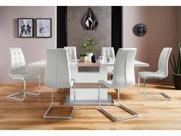 Essgruppe »Perez/Lola« mit 4 Stühlen, Tisch ausziehbar, Breite 160-200 cm, weiß, weiß Hochglanz/Grau