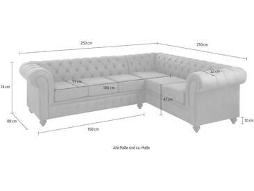 Premium collection by Home affaire Ecksofa »Chesterfield«, silberfarben, 250 cm, langer Schenkel links, silver