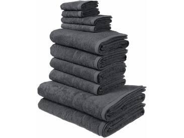 my home Handtuch Set »Inga«, mit feiner Bordüre (10 tlg), grau, 10tlg.-Set, grau