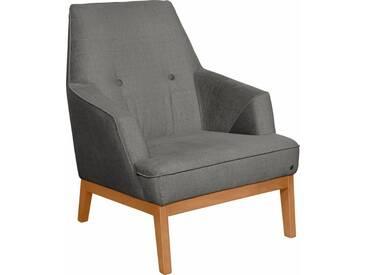 TOM TAILOR Sessel »COZY«, im Retrolook, mit Kedernaht und Knöpfung, Füße Buche natur, grau, basalt STC 9