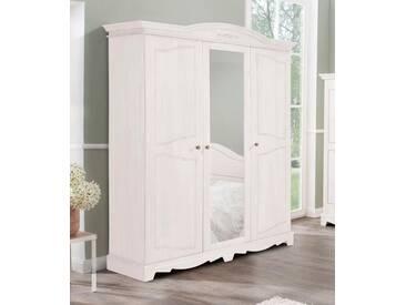 Home affaire Kleiderschrank »Romantika« aus massiver Kiefer, weiß, 3-türig, Breite 146,5 cm, weiß