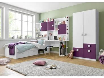 rauch PACK´S Jugendzimmer-Set »Kate«, 5-teilig, lila, mit 2-trg. Schrank, ohne Aufbauservice, ohne Aufbauservice, weiß/brombeer
