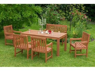 MERXX Gartenmöbelset »Santos«, 4tlg., 2 Sessel, Bank, Tisch, Eukalyptusholz, natur, natur, natur
