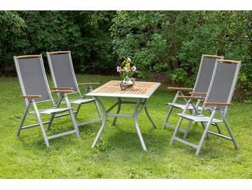 MERXX Diningset »Siena«, 5-tlg., 4 Sessel, 1 Tisch 140x80 cm, Aluminium, Akazienholz, grau, anthrazit