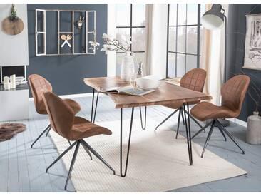 Premium collection by Home affaire Esstisch »Manhattan 2.0«, mit Baumkantenoptik und filigranem Gestell, natur, 160x90 cm, Akazie natur