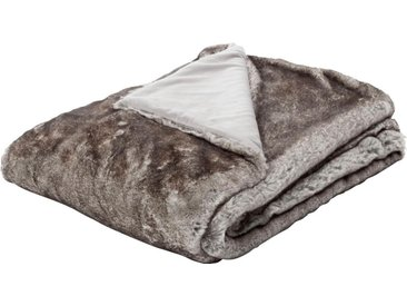 BIEDERLACK Wohndecke »Aspen«, mit Felloptik, grau, Kunstfaser, grau-braun