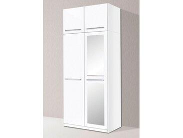 Kleiderschrank, 2- bis 5-türig, weiß, ohne LED-Beleuchtung, Breite 94 cm, weiß/weiß Hochglanz