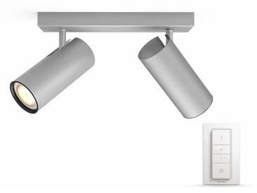 Philips Hue LED Deckenstrahler »Buratto«, 2-flammig, Smart Home, silberfarben, 2 -flg. /, silberfarben