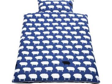 Pinolino® Babybettwäsche »Happy Sheep«, mit hochwertiger Paspelkonfektion, blau, 1x 100x135 cm, Perkal, blau